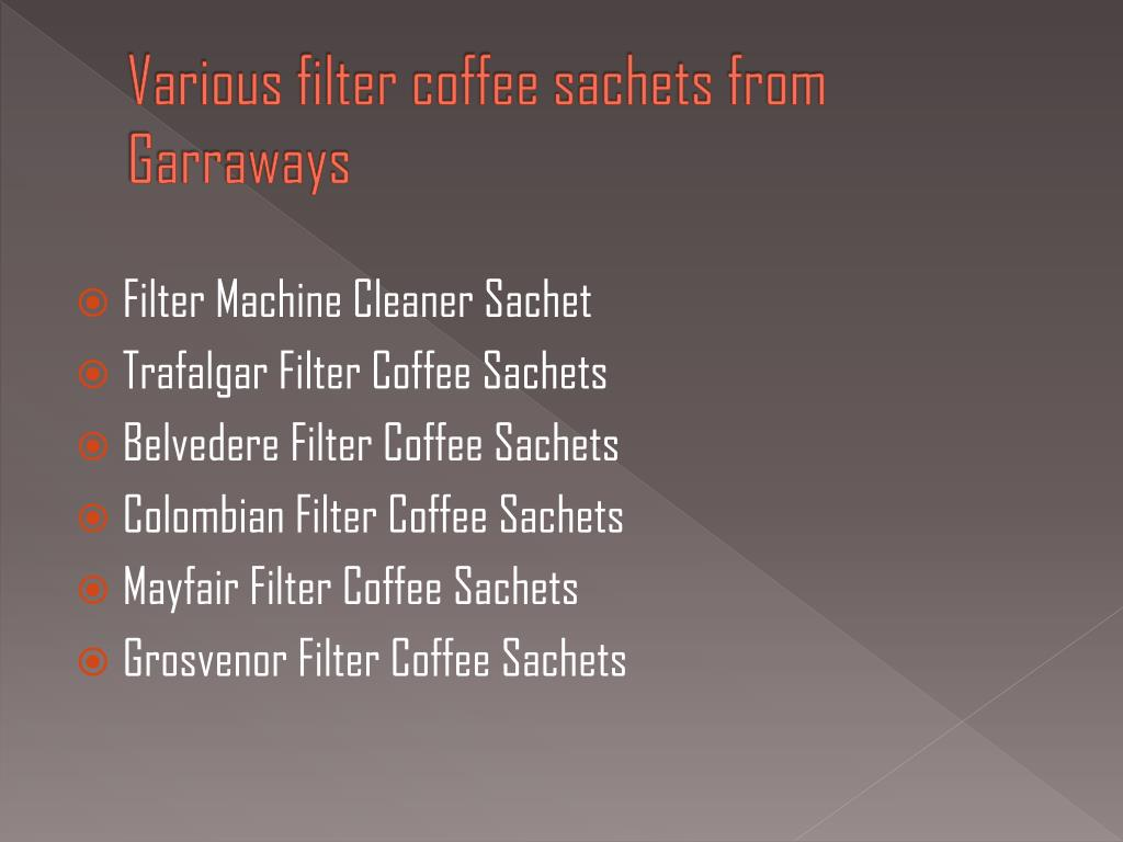 Various filter coffee sachets from Garraways