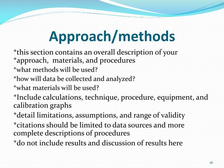 Approach/methods