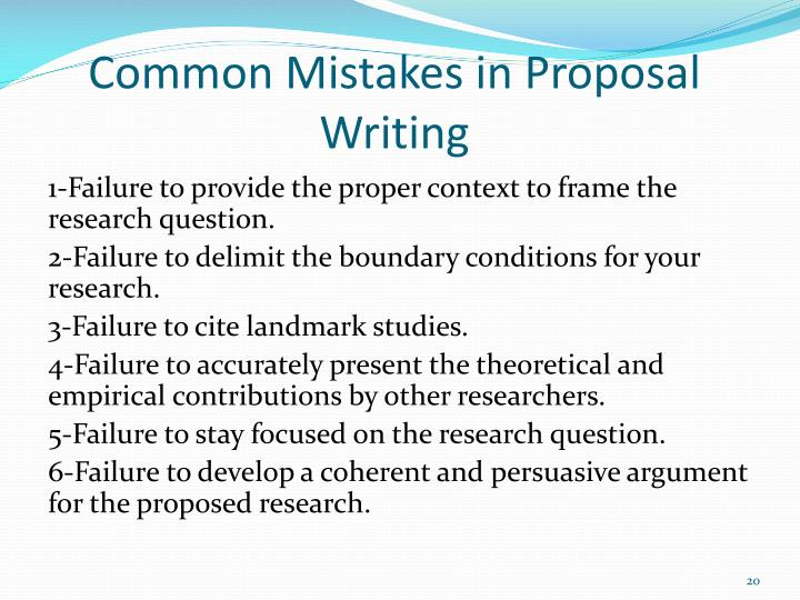 Common Mistakes in Proposal Writing