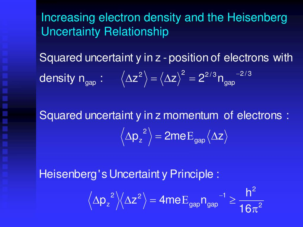 Increasing electron density and the Heisenberg Uncertainty Relationship