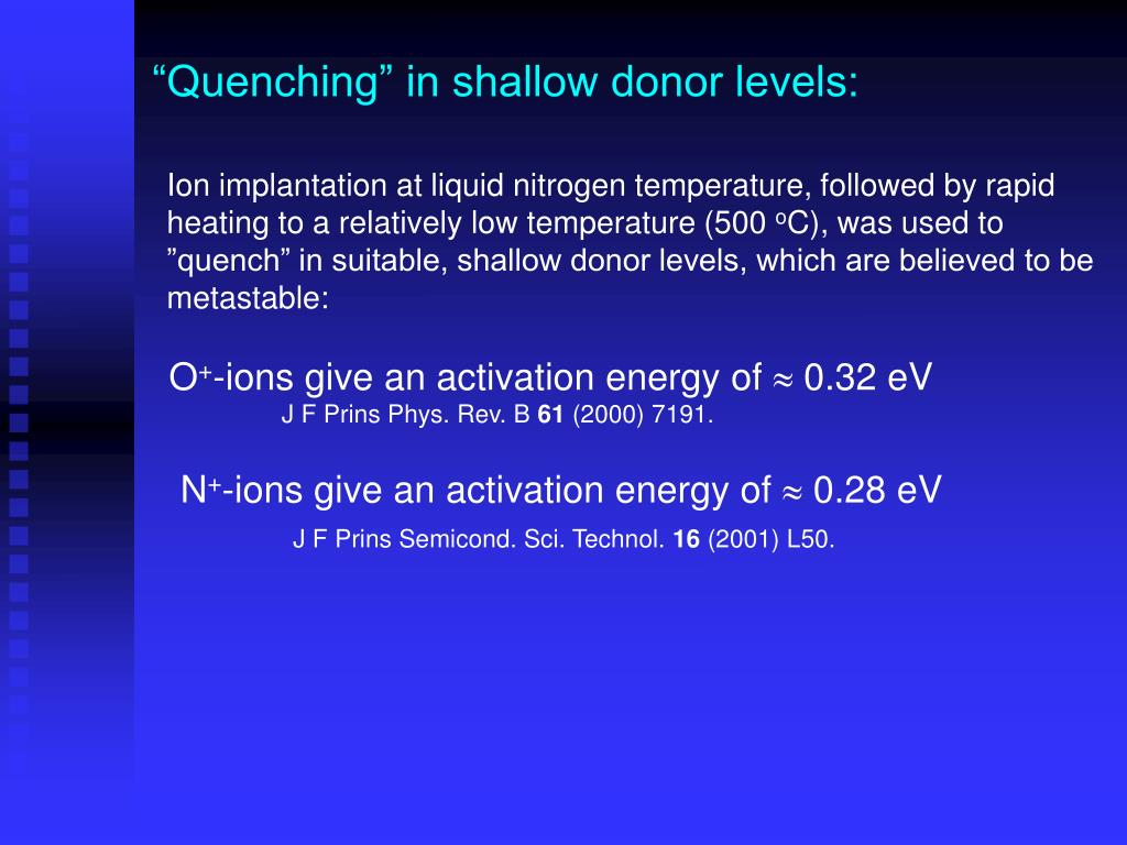 """""""Quenching"""" in shallow donor levels:"""