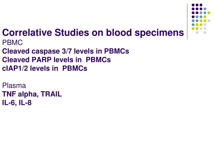 Correlative Studies on blood specimens