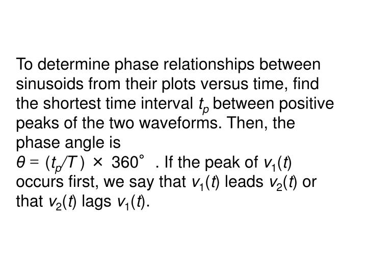 To determine phase relationships between sinusoids from their plots versus time, find the shortest time interval