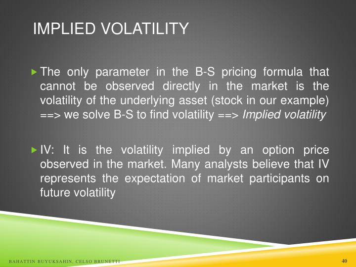 Stock options implied volatility