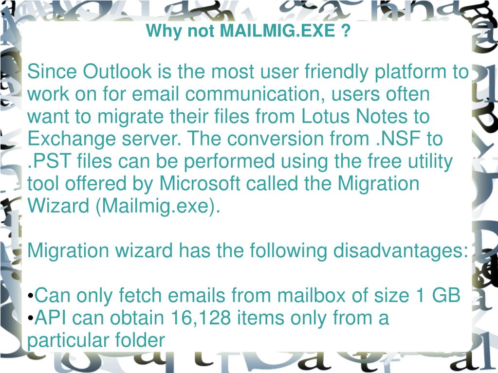 Why not MAILMIG.EXE ?