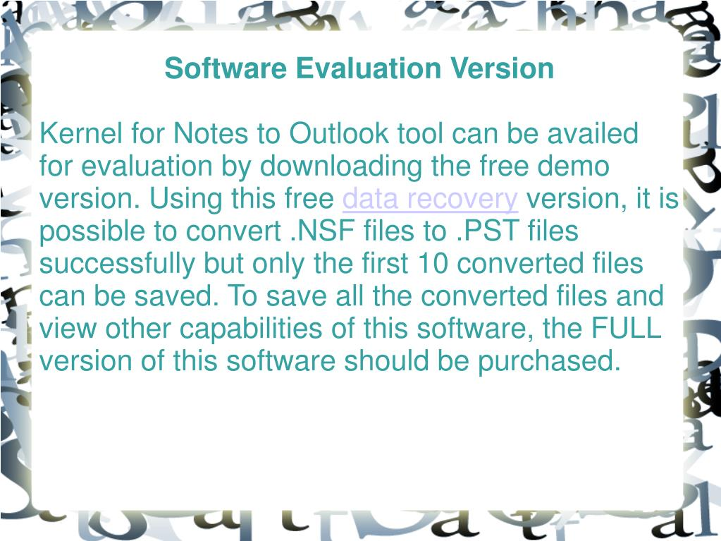 Software Evaluation Version