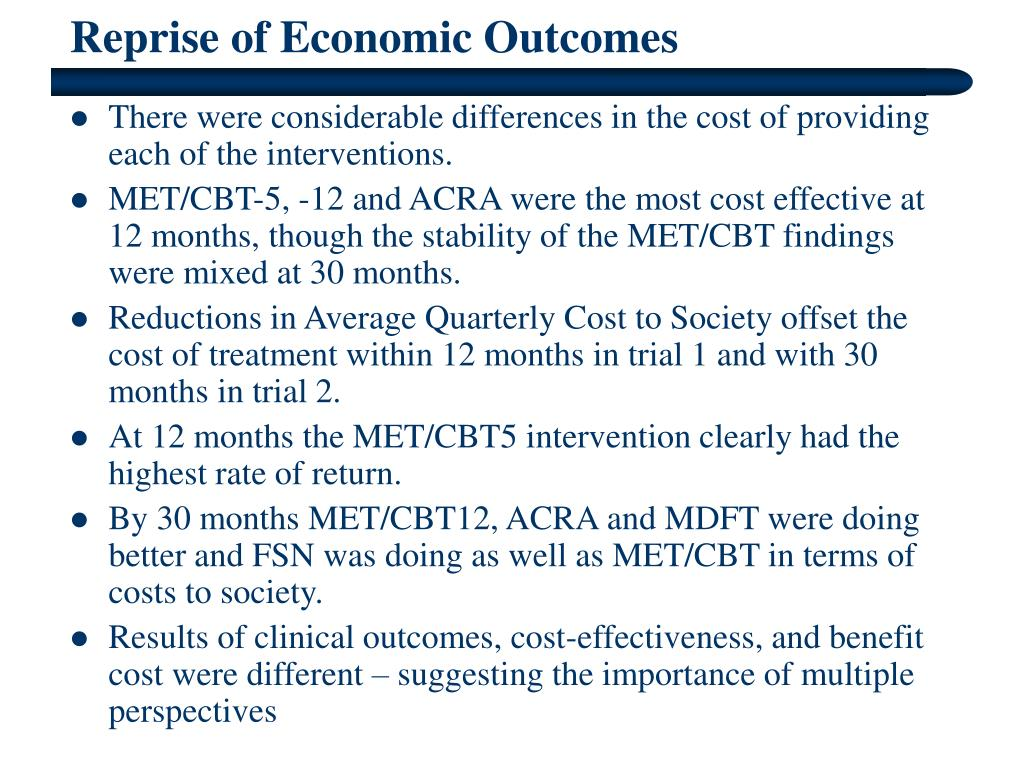 Reprise of Economic Outcomes