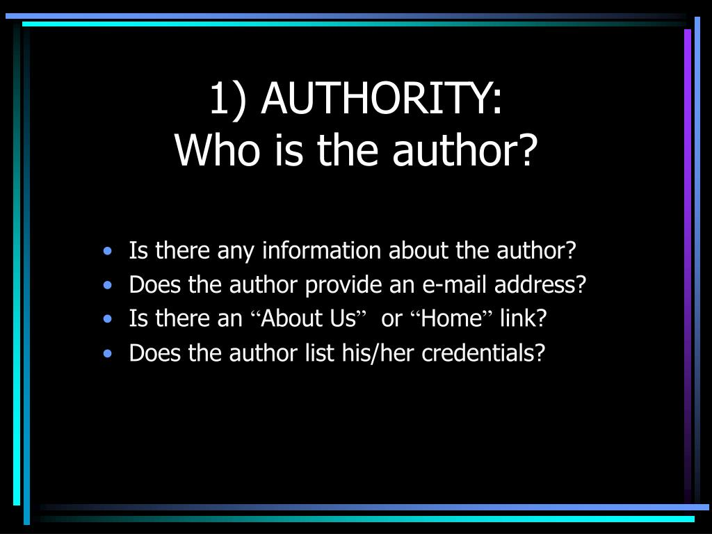 1) AUTHORITY: