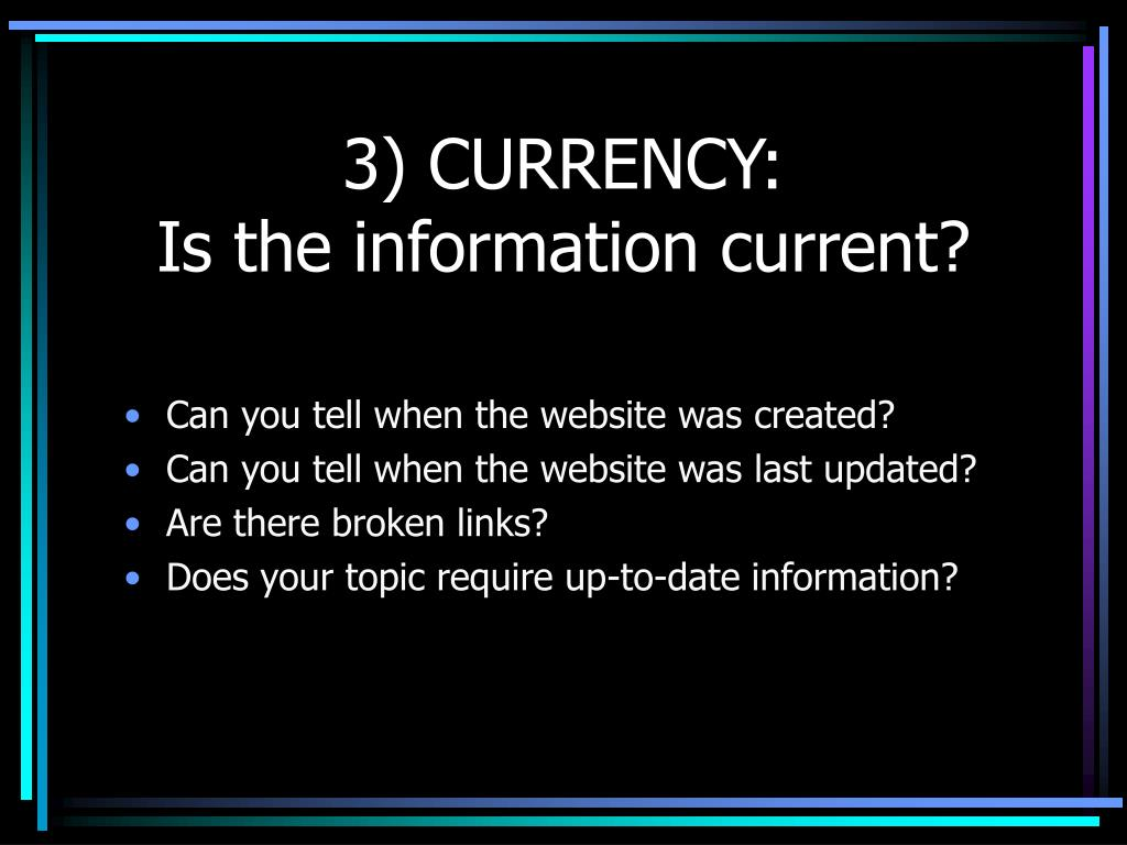 3) CURRENCY: