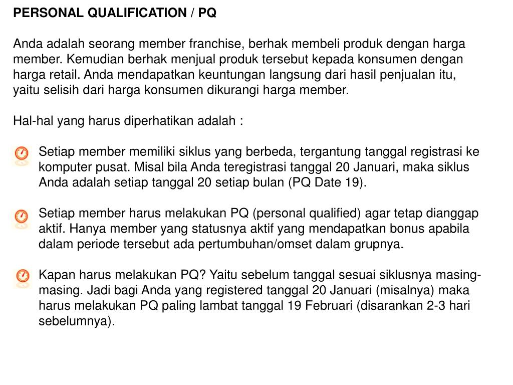 PERSONAL QUALIFICATION / PQ