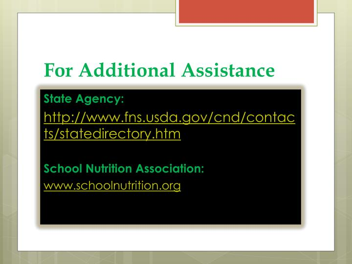 For Additional Assistance