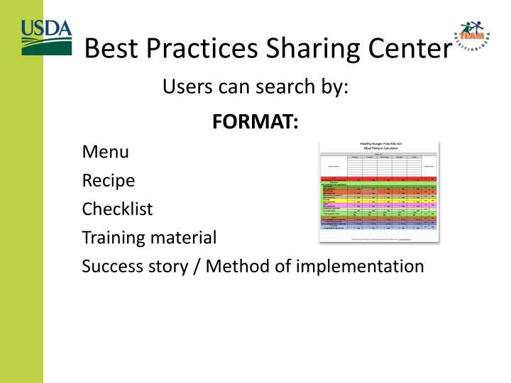 Best Practices Sharing Center