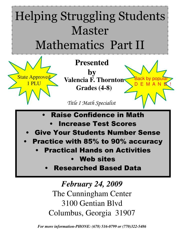 Helping struggling students master mathematics part ii