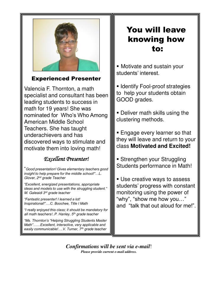 Experienced Presenter