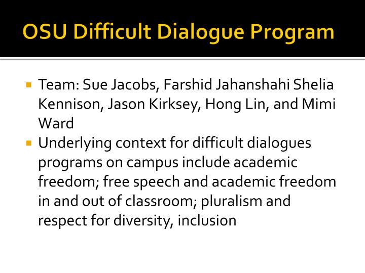 Osu difficult dialogue program