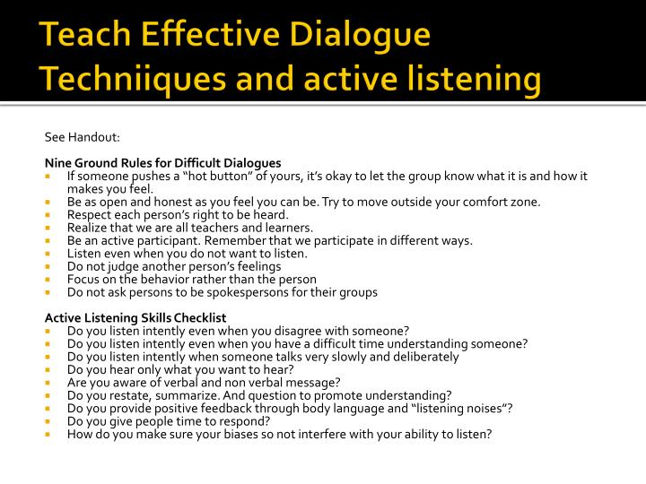 Teach Effective Dialogue
