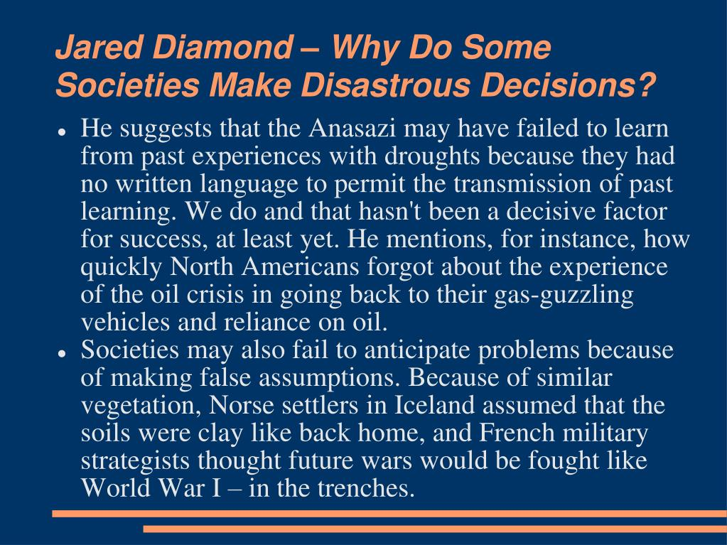 Jared Diamond – Why Do Some Societies Make Disastrous Decisions?