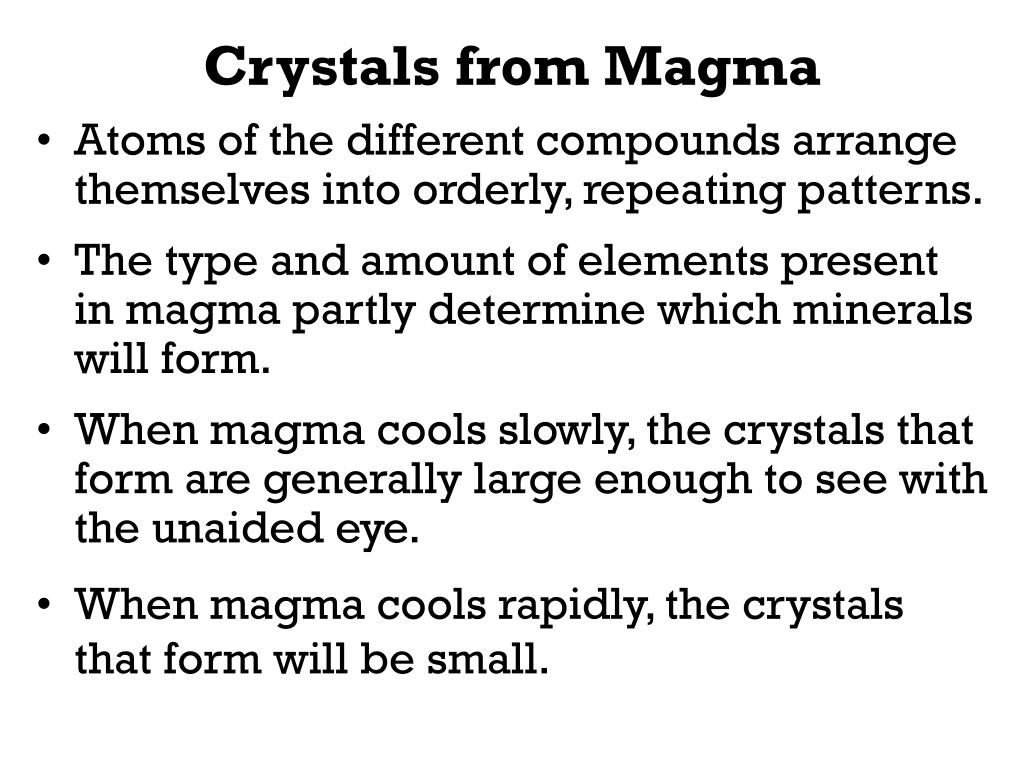 Crystals from Magma