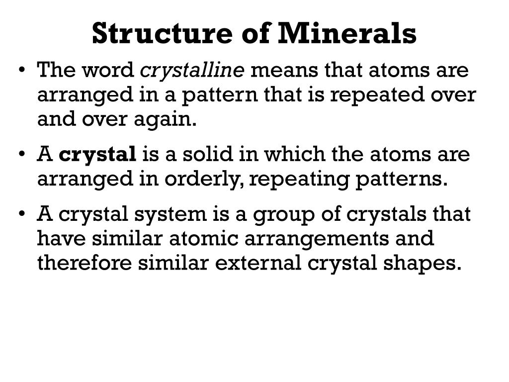 Structure of Minerals