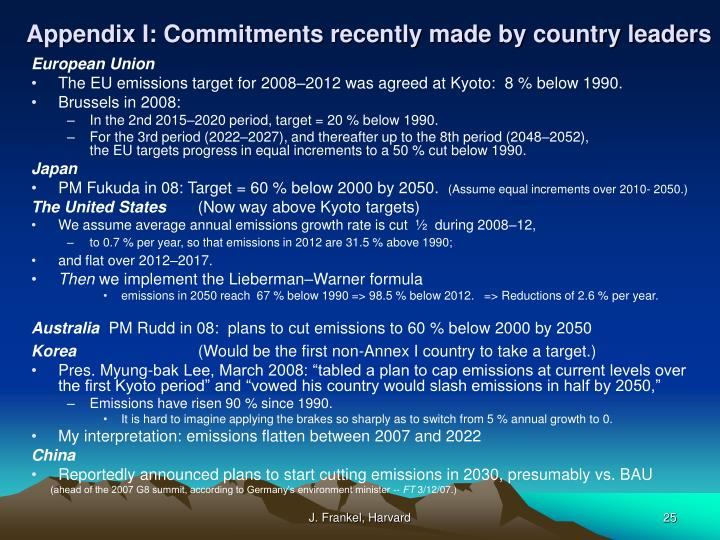 Appendix I: Commitments recently made by country leaders