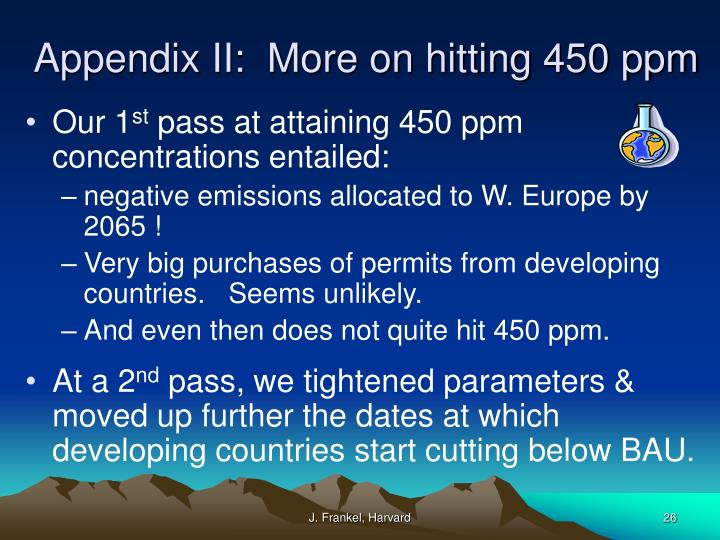 Appendix II:  More on hitting 450 ppm
