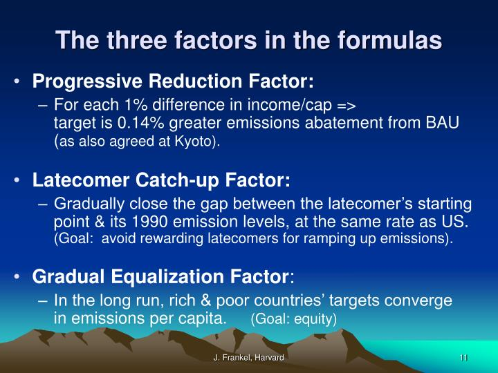 The three factors in the formulas
