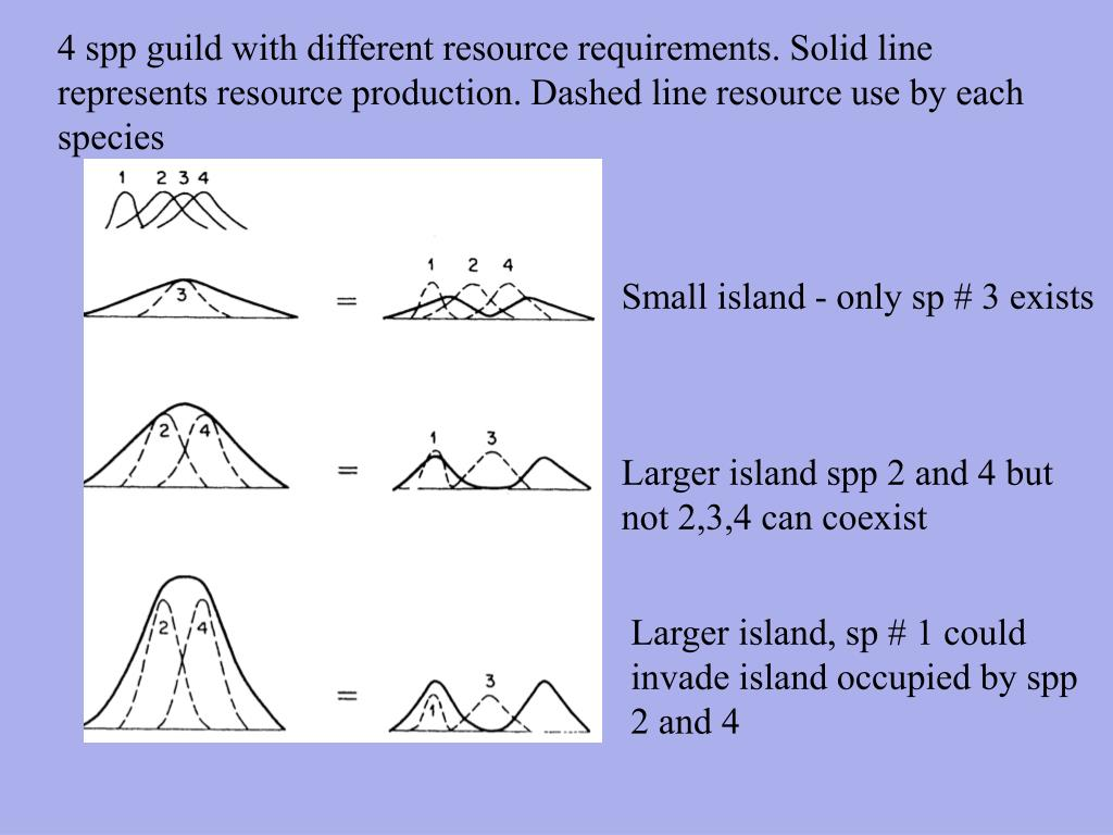 4 spp guild with different resource requirements. Solid line represents resource production. Dashed line resource use by each species
