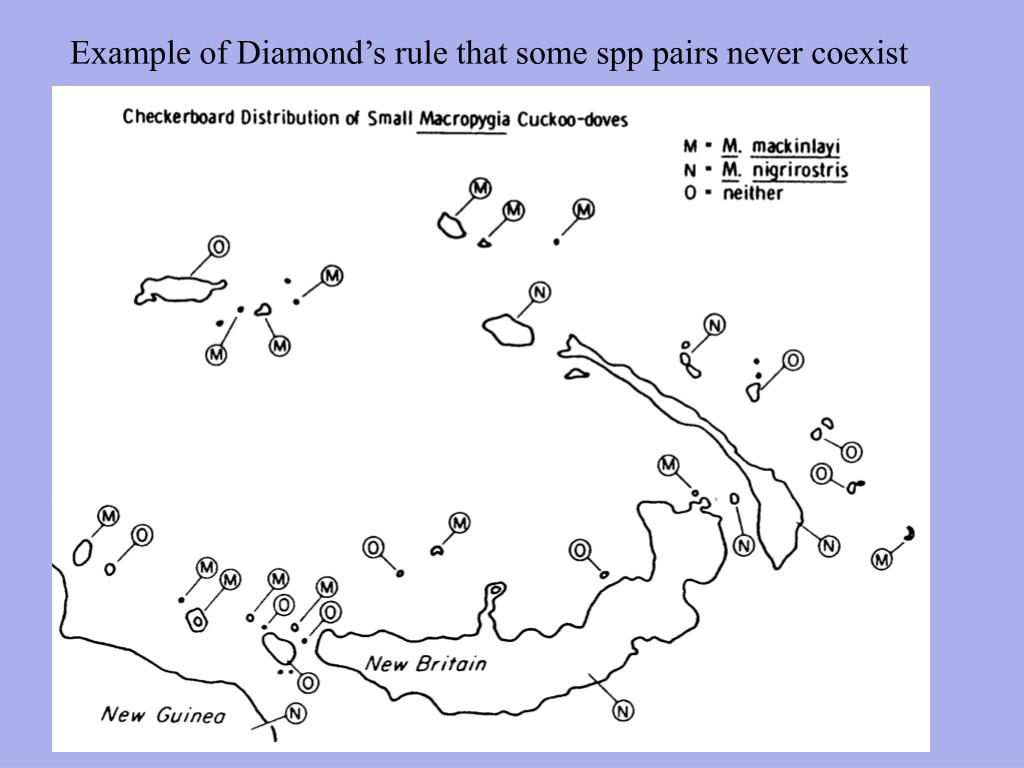 Example of Diamond's rule that some spp pairs never coexist