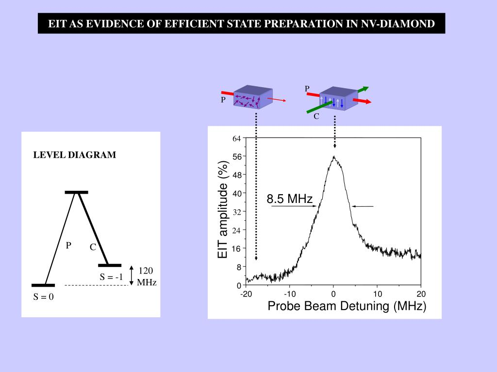 EIT AS EVIDENCE OF EFFICIENT STATE PREPARATION IN NV-DIAMOND