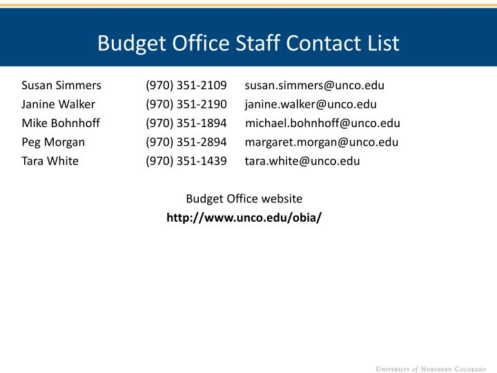 Budget Office Staff Contact List
