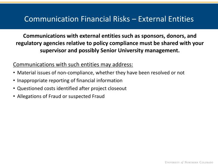 Communication Financial Risks – External Entities