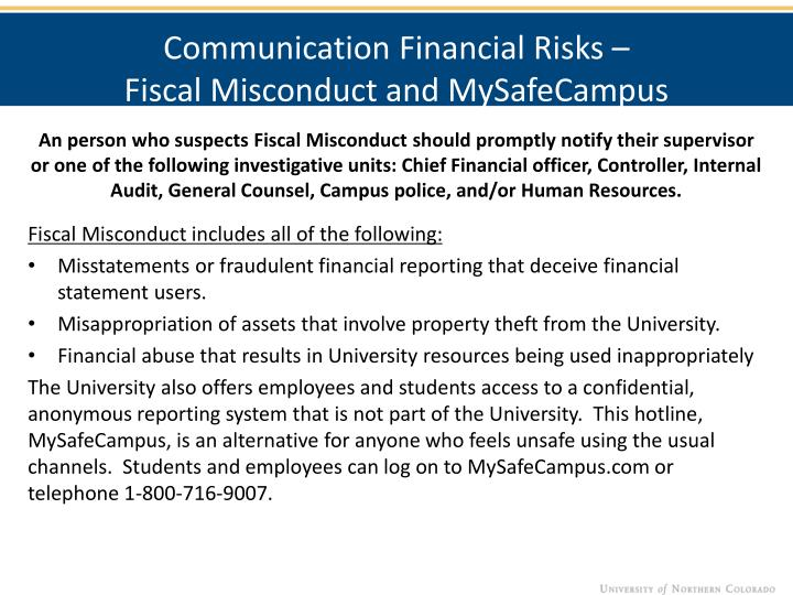 Communication Financial Risks –