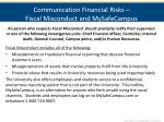 communication financial risks fiscal misconduct and mysafecampus