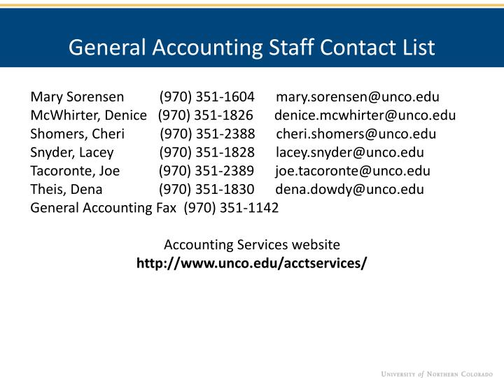 General Accounting Staff Contact List