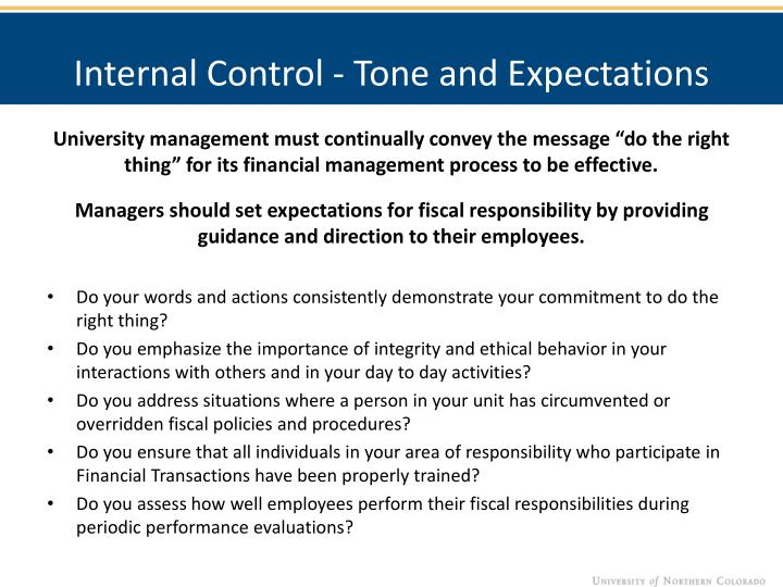 Internal Control - Tone and Expectations
