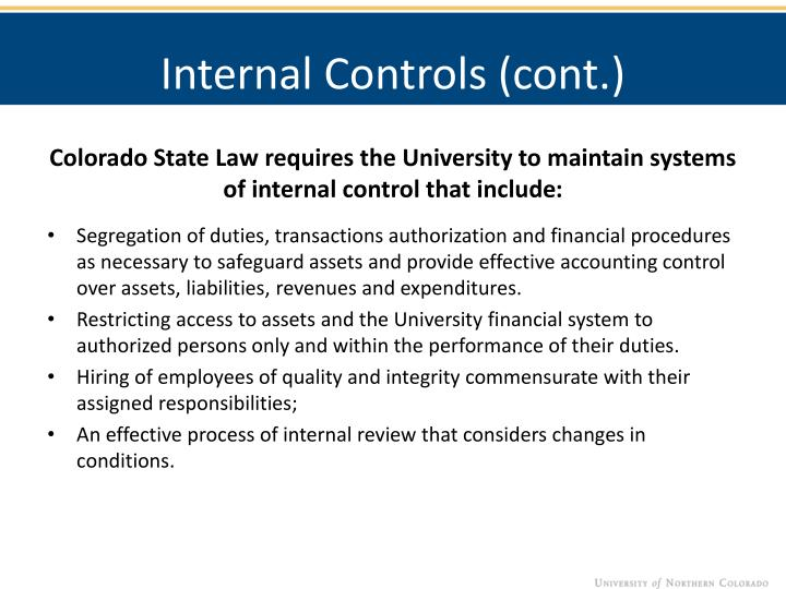 Internal Controls (cont.)