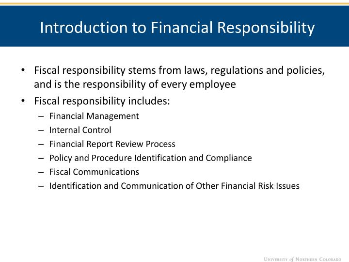 Introduction to Financial Responsibility