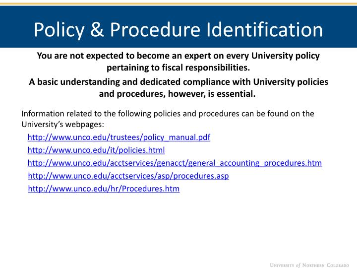 Policy & Procedure Identification