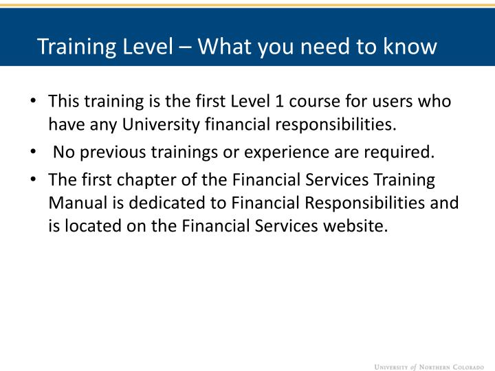Training Level – What you need to know