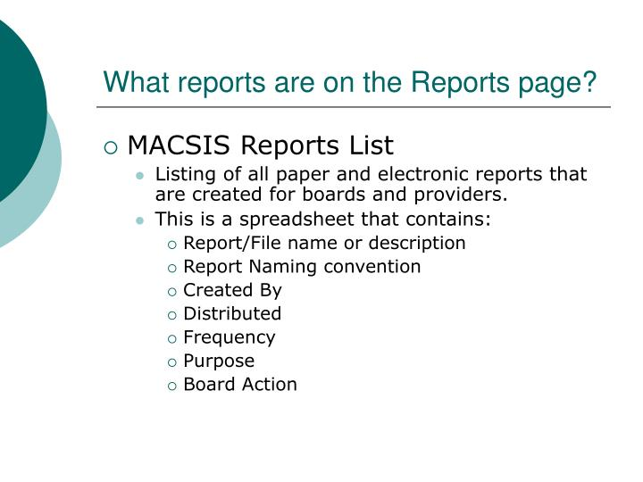 What reports are on the reports page