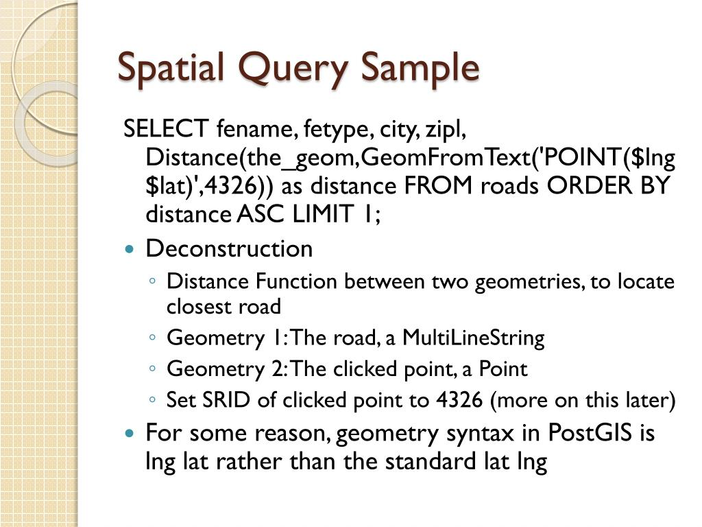 Spatial Query Sample
