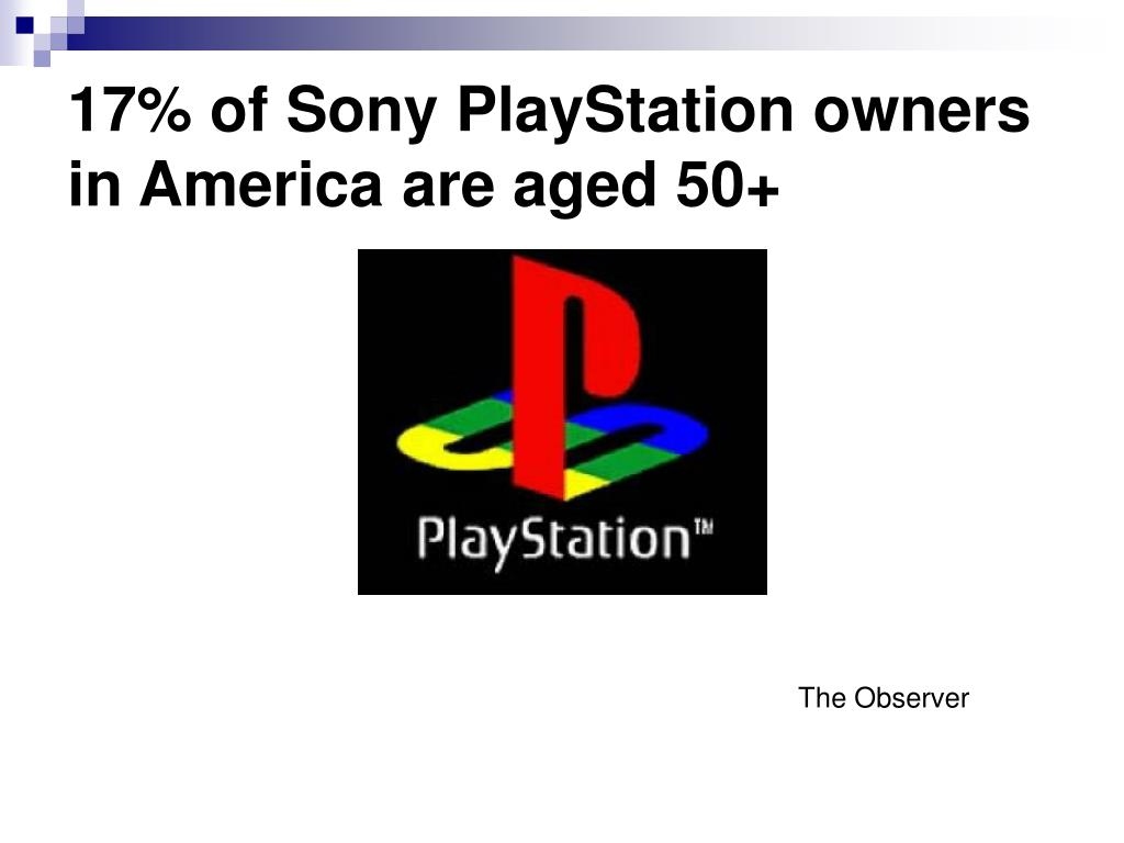 17% of Sony PlayStation owners in America are aged 50+