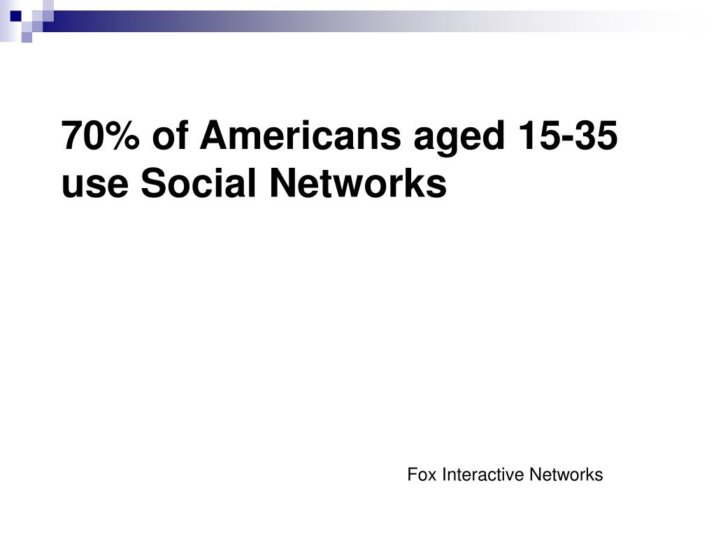70% of Americans aged 15-35 use Social Networks