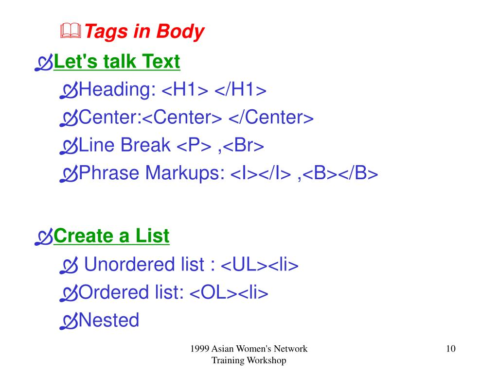 Tags in Body