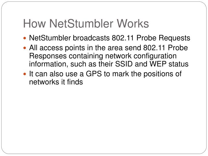 How NetStumbler Works