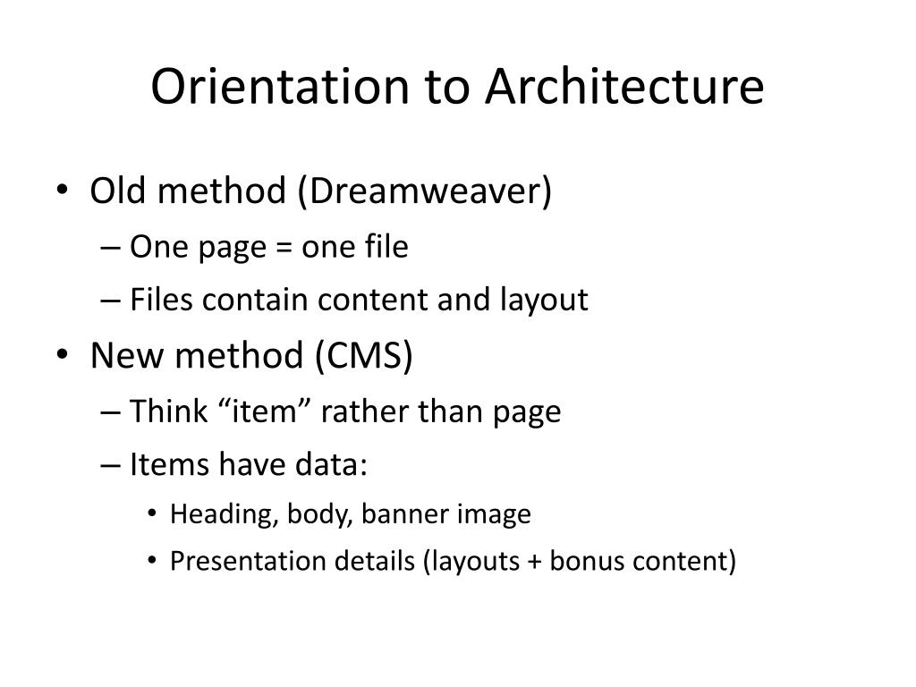 Orientation to Architecture