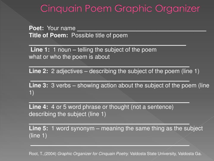 Cinquain Poem Graphic Organizer