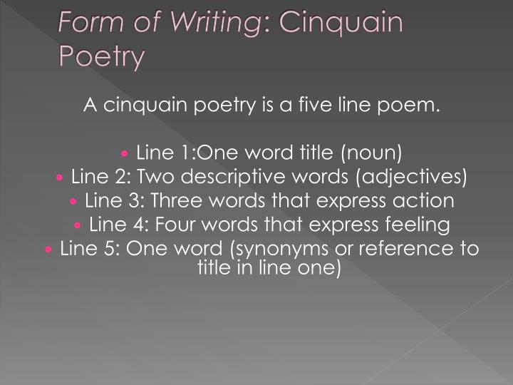 Form of writing cinquain poetry