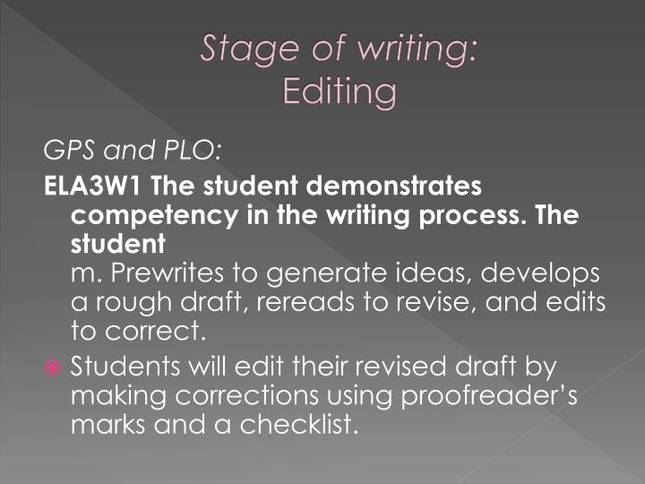Stage of writing: