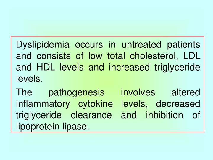Dyslipidemia occurs in untreated patients and consists of low total cholesterol, LDL and HDL levels and increased triglyceride levels.